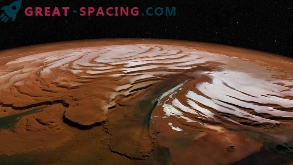 Как изглежда полярната ледена шапка на Марс?
