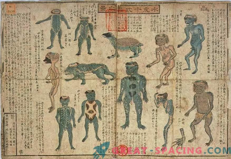 Die 200 Jahre alte Ausstellung des Japanischen Museums ähnelt einem Kappa-Mythos. Version von Ufologen