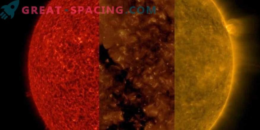 Слънцето на три различни дължини на вълните