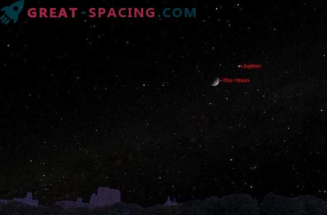 В неделя Луната среща Юпитер в нощното небе: къде да гледаме