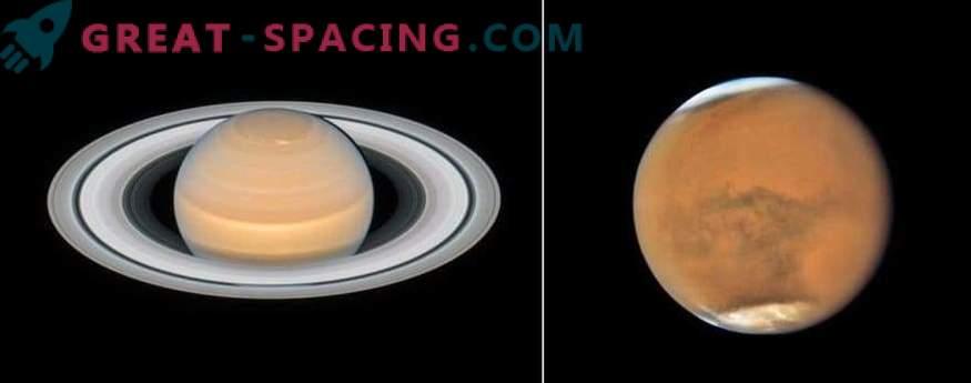 Нови снимки на Марс и Сатурн от Хъбъл