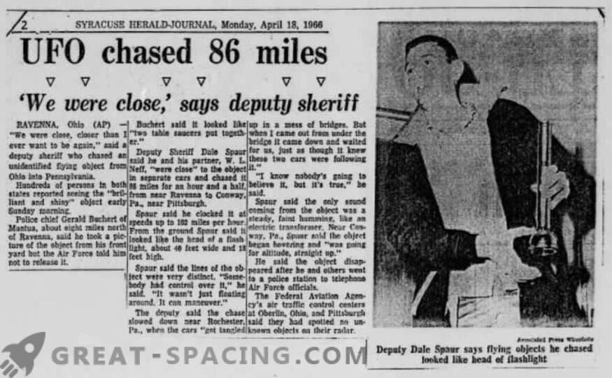 Инцидентът в Portridge - 1966. Полицията описва преследването на неидентифициран обект